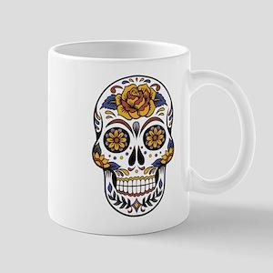 Yellow Rose Sugar Skull Mugs