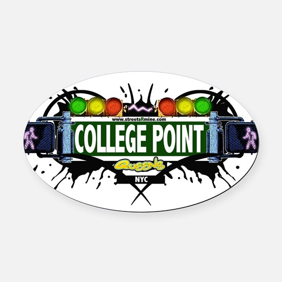 College Point Queens NYC (White) Oval Car Magnet