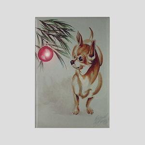 Christmas Chihuahua Rectangle Magnet
