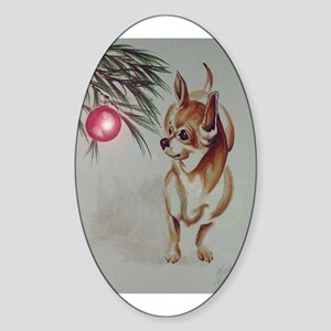 Christmas Chihuahua Oval Sticker
