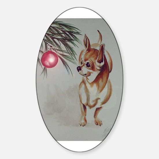 Christmas Chihuahua Oval Decal