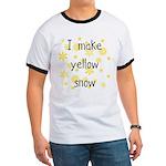 I Make Yellow Snow Ringer T, blue or black trim