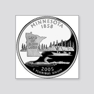 "Minnesota State Quarter Square Sticker 3"" x 3"""