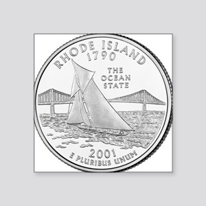 "Rhode Island State Quarter Square Sticker 3"" x 3"""