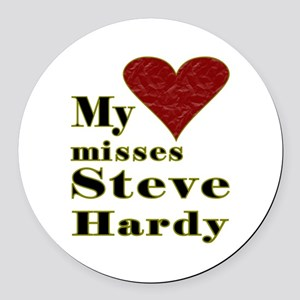 Heart Misses Steve Hardy Round Car Magnet