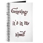 Genealogy It's In My Blood Journal
