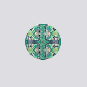 Green 'Stained Glass' Cross Mini Button