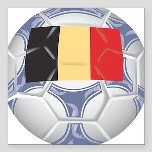 "Belgium Championship Soccer Square Car Magnet 3"" x"