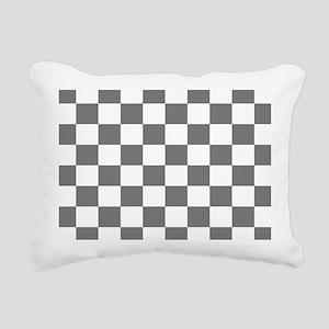 Gray Checkerboard Rectangular Canvas Pillow