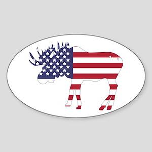 US Flag Moose Sticker
