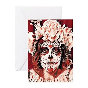Skull red rose greeting cards cafepress m4hsunfo