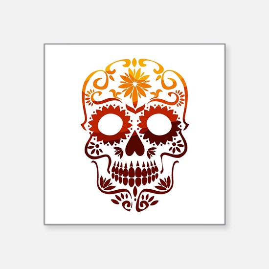 Red and Orange Sugar Skull Sticker