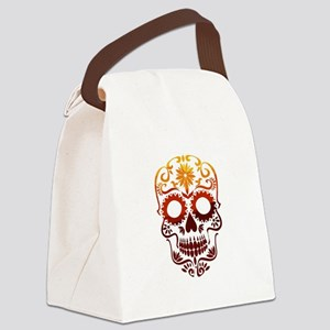 Red and Orange Sugar Skull Canvas Lunch Bag