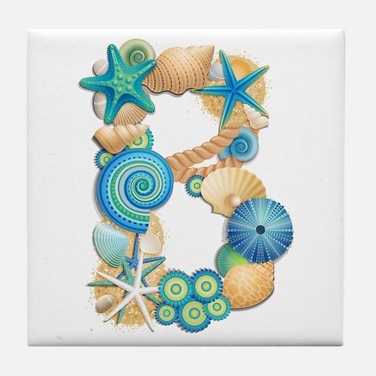 BEACH THEME INITIAL B Tile Coaster