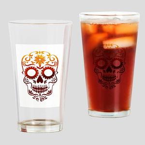 Red and Orange Sugar Skull Drinking Glass