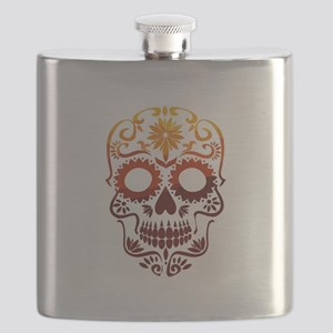 Red and Orange Sugar Skull Flask