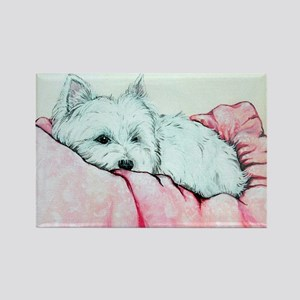 Sleepy Westie Rectangle Magnet