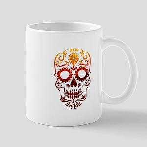Red and Orange Sugar Skull Mugs