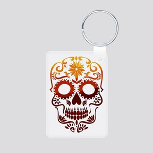 Red and Orange Sugar Skull Keychains