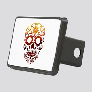 Red and Orange Sugar Skull Rectangular Hitch Cover