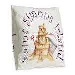 Saint Simons Island Burlap Throw Pillow
