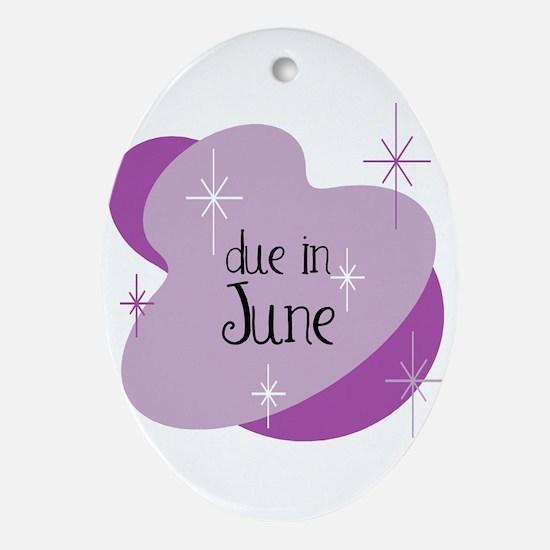 Due In June Retro Oval Ornament
