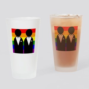 Two Grooms Drinking Glass