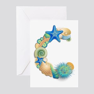 BEACH THEME INITIAL C Greeting Cards (Pk of 10)