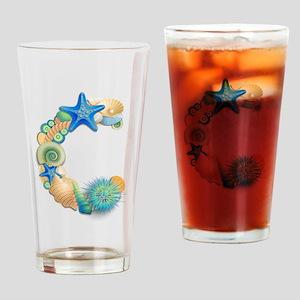 BEACH THEME INITIAL C Drinking Glass