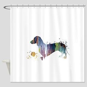Dachshund Artwork Shower Curtain