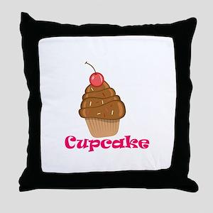 Chocolate Cherry Cupcake Throw Pillow