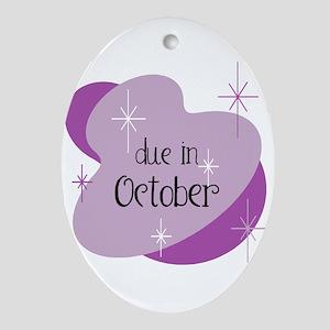 Due In October Retro Oval Ornament