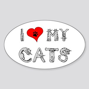 I love my cats / heart Oval Sticker