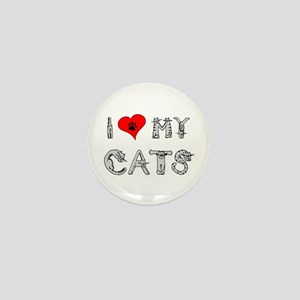 I love my cats / heart Mini Button