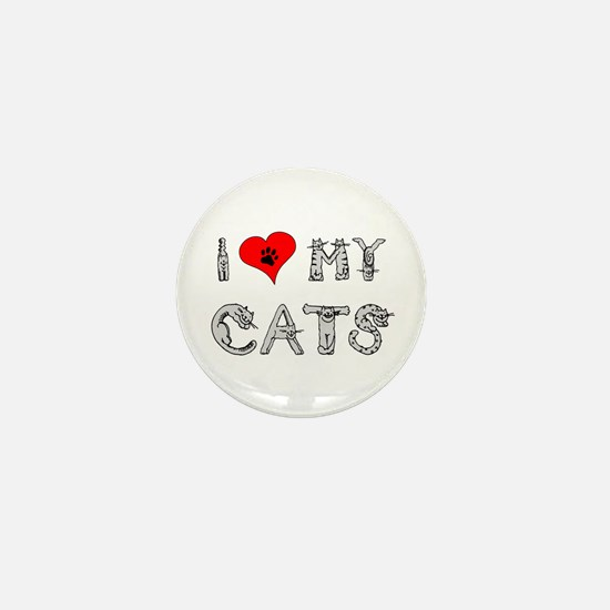I love my cats / heart Mini Button