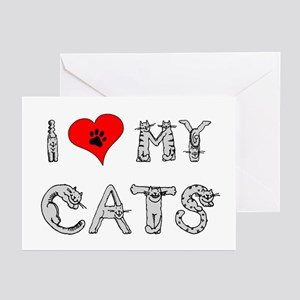 I love my cats / heart Greeting Cards (Package of