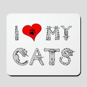 I love my cats / heart Mousepad