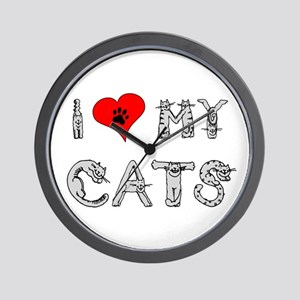 I love my cats / heart Wall Clock