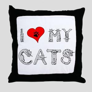 I love my cats / heart Throw Pillow