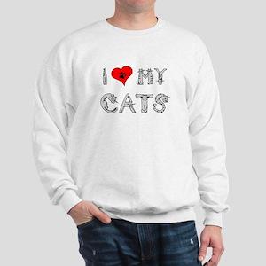 I love my cats / heart Sweatshirt