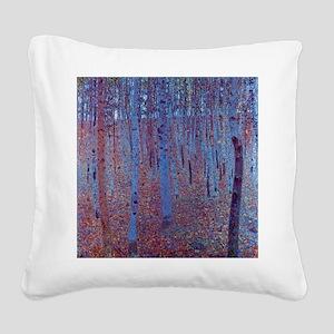 beech forest klimt Square Canvas Pillow