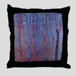 beech forest klimt Throw Pillow