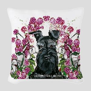 Black Schnauzer Woven Throw Pillow