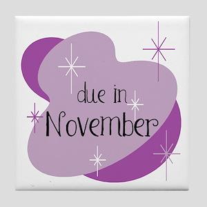 Due In November Retro Tile Coaster