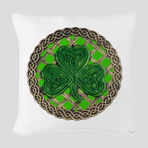 Shamrock And Celtic Knots Woven Throw Pillow