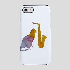 Cat and saxophone iPhone 7 Tough Case
