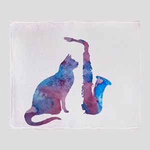 Cat and saxophone Throw Blanket