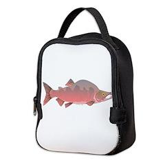 Pink Humpy Male salmon f Neoprene Lunch Bag