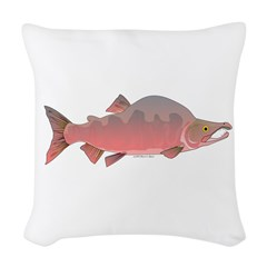 Pink Humpy Male salmon f Woven Throw Pillow