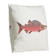 Pink Humpy Male salmon f Burlap Throw Pillow